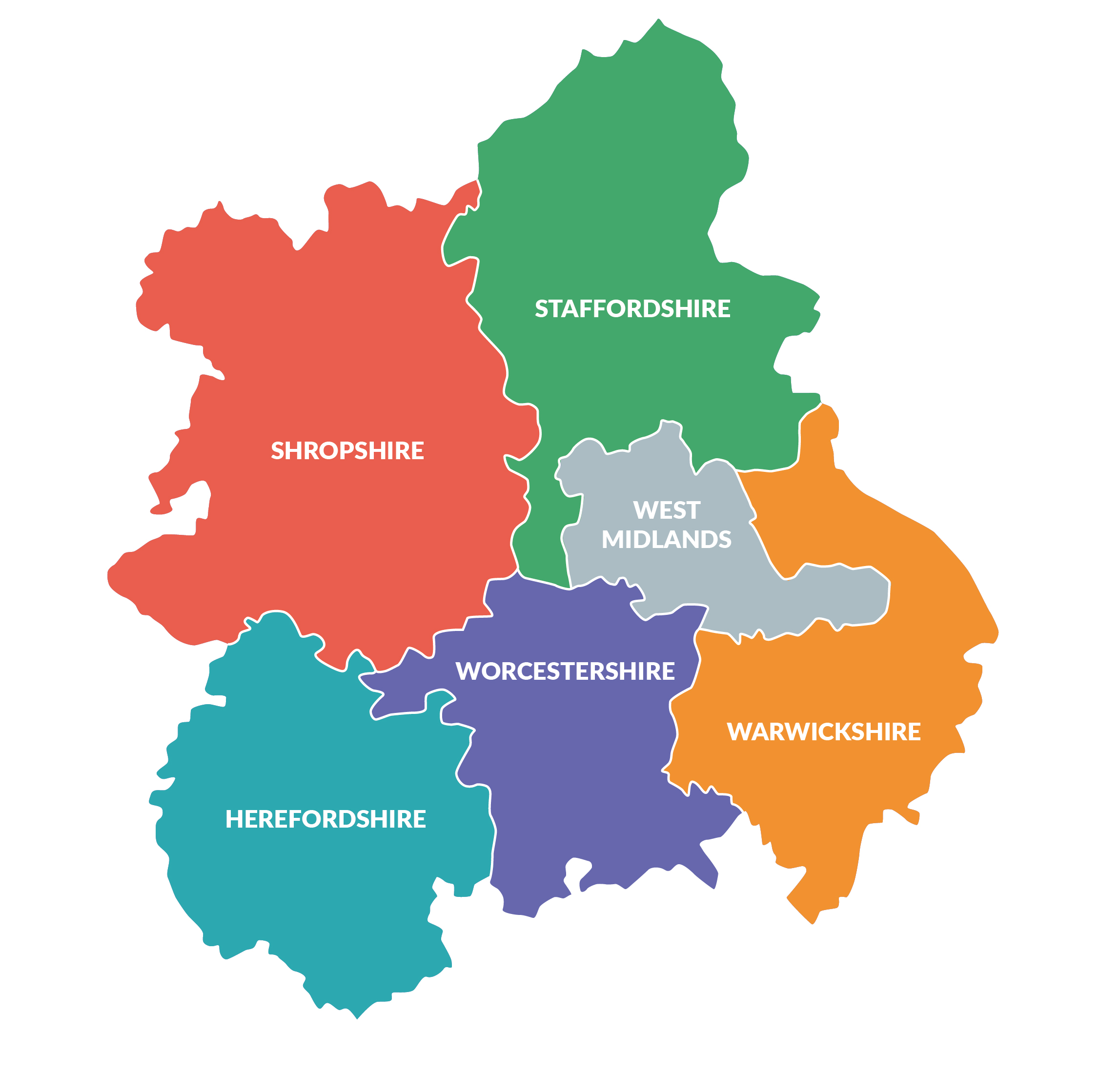 Map of counties covered by the CRN West Midlands